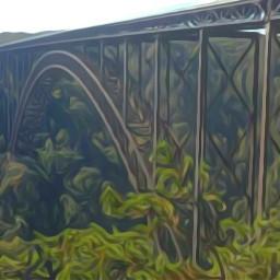 oilpainting green bridge