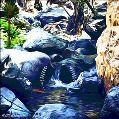 freetoedit picsart waterfall clipart oilpainting
