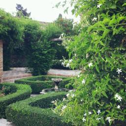 spain malaga andalucia alcazaba garden green water calm