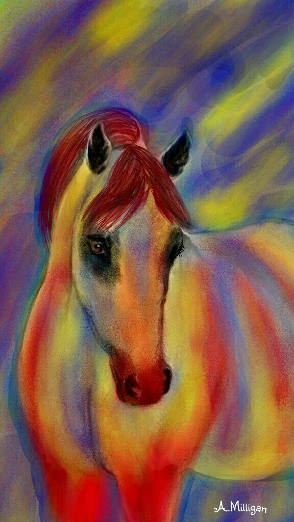 "#wdpprimarycolors  ""Coloured beauty""   #colorsplash  #colorful  #primary  #horse  #draw😊💚❤🐎"