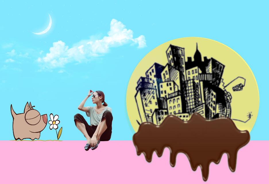 #FreeToEdit  #city  #chocolat  #girl  #clipart  #cloud