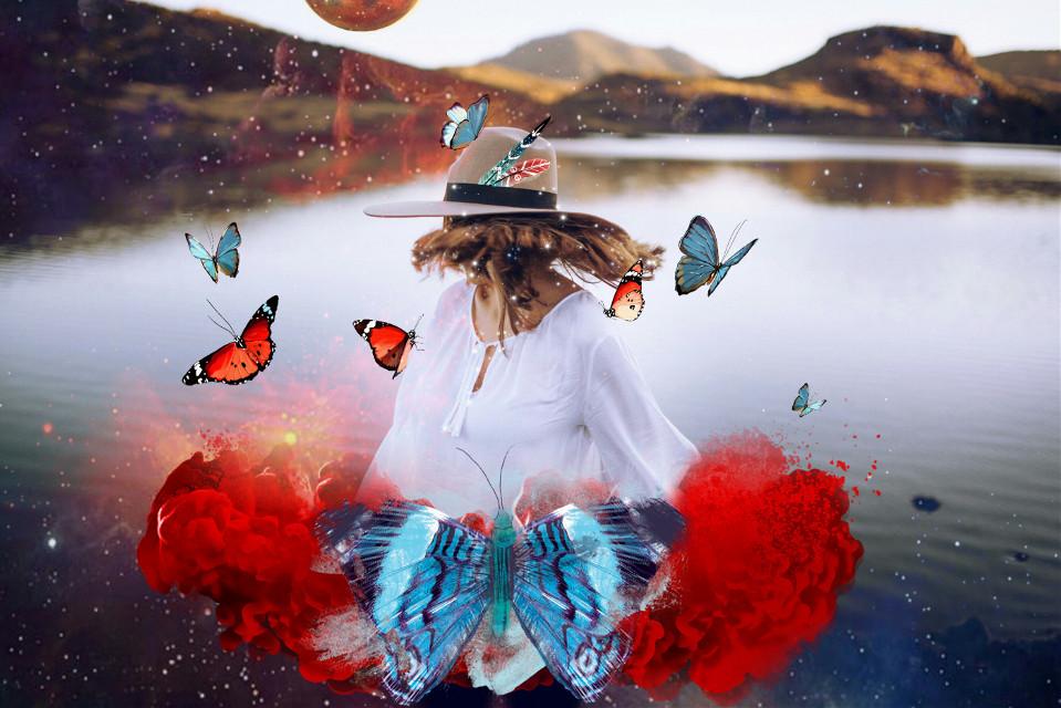#FreeToEdit  #girl #water #red #smoke #butterflies  #mountain  #hat #feathers #moon #planet
